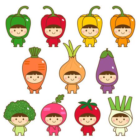 Satz von Kindern in hübsch Gemüse Kostüme Vektorgrafik