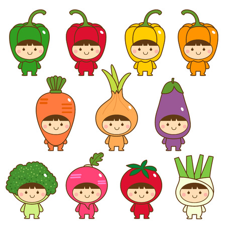 Set of kids in cute vegetables costumes