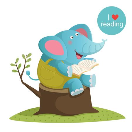 illustration of cartoon elephant reading a book