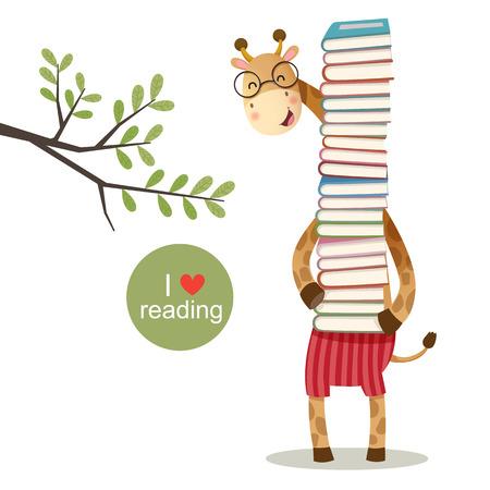 illustration of cartoon giraffe holding a pile of books