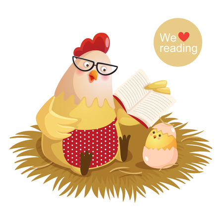 chicken and egg: illustration of cartoon hen and chick reading a book