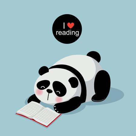 libro caricatura: ilustración de la panda linda que lee un libro sobre fondo gris