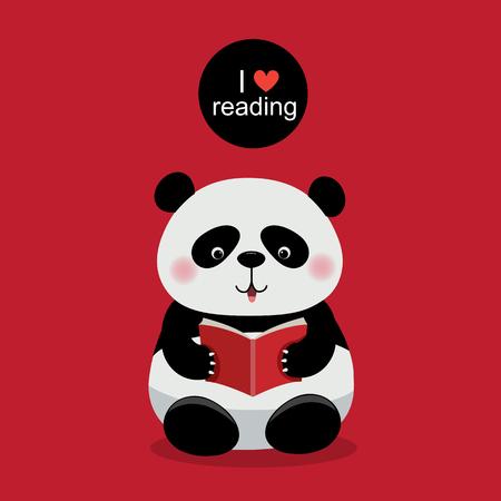 빨간색 배경에 책을 읽고 귀여운 팬더의 그림 일러스트