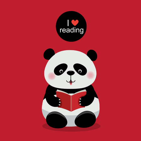 cartoon reading: illustration of cute panda reading a book on red background