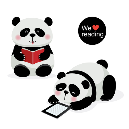 illustration of two cute pandas with reading concept