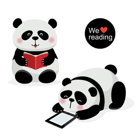 libro caricatura: ilustración de dos pandas lindo con el concepto de la lectura