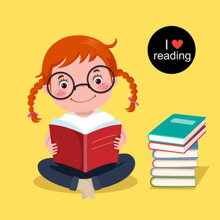 niña: Ilustración de la chica linda que lee un libro sobre fondo amarillo