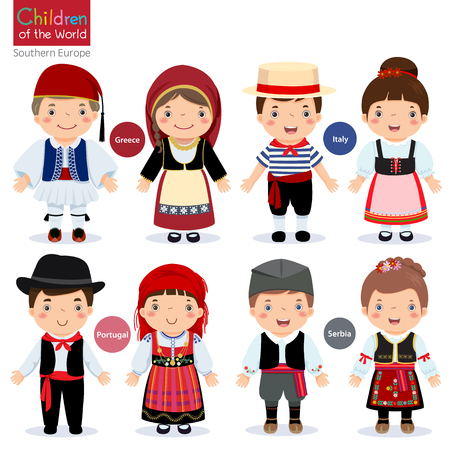 Niños en diferentes trajes tradicionales (Grecia, Italia, Portugal, Serbia) Ilustración de vector