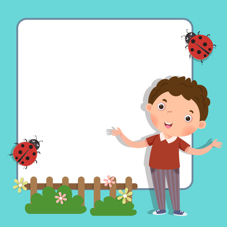 Background with cute boy Illustration