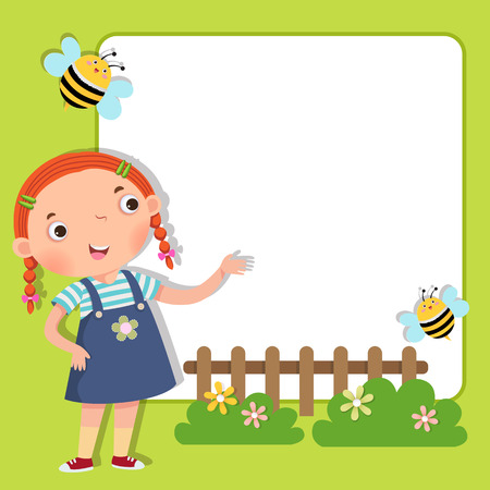 children art: Background with cute girl Illustration