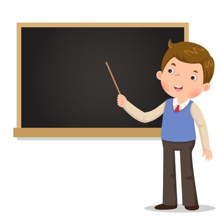 Mężczyzna nauczyciel stoi przed tablicą ze wskaźnikiem