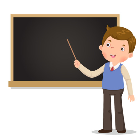 Male teacher standing in front of blackboard with a pointer Vectores