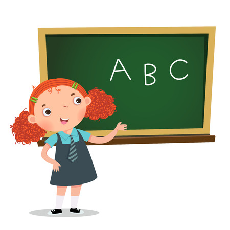 Smart girl presenting something in front of blackboard