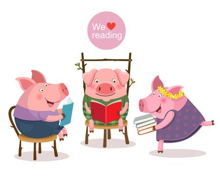ilustración de tres cerditos que lee un libro