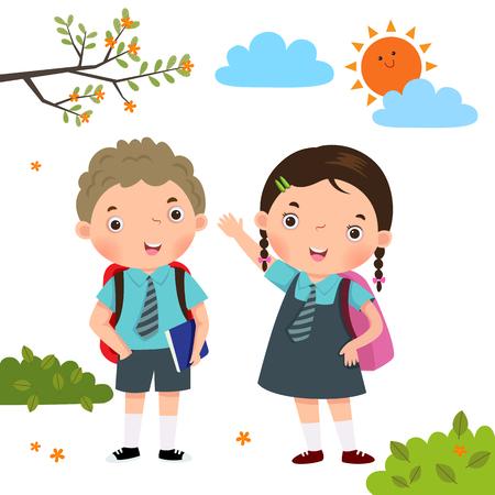 Vector illustration of two kids in school uniform going to school