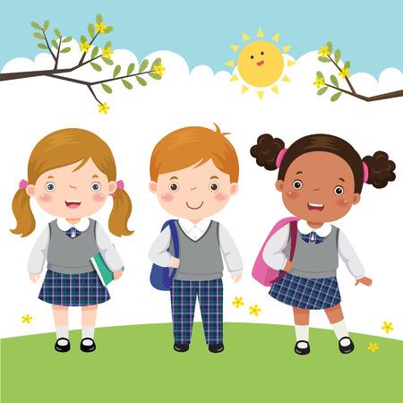 Ilustración de vector de tres niños en uniforme escolar yendo a la escuela