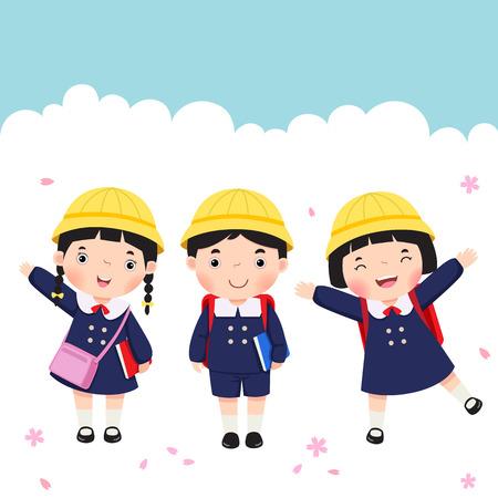 Vector illustration of Japanese student in school uniform going to school