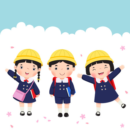 Vector illustration of Japanese student in school uniform going to school