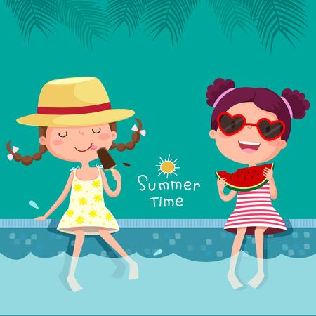 enfant maillot de bain: illustration de deux filles de manger de la crème glacée et de la pastèque à la piscine Illustration