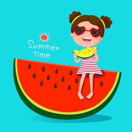 귀여운 소녀 먹는 수박의 그림