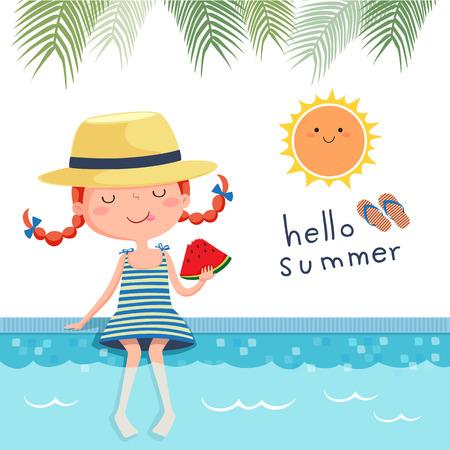 Illustration von Mädchen essen Wassermelone am Pool
