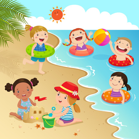 sea water: Group of kids having fun on the beach