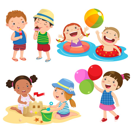 Set of children play on the beach