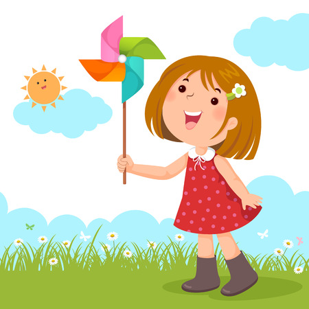 windmill toy: Vector illustration of little girl playing with a colorful windmill toy