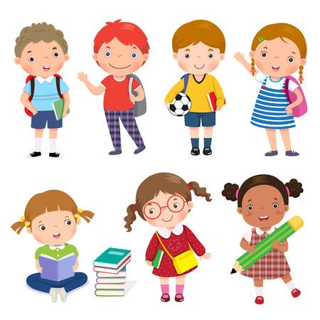 libro caricatura: De vuelta a la escuela. Conjunto de niños escolares en el concepto de educación. Vectores