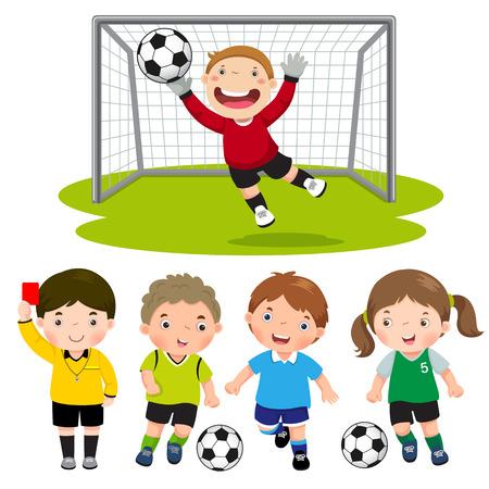 arquero futbol: Conjunto de los niños de fútbol de dibujos animados con diversa actitud Vectores