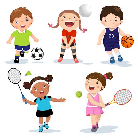 Ilustracja wektora różnych dzieci sportowych na białym tle