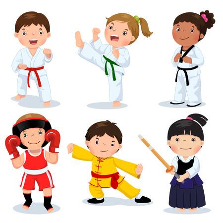 asian cartoon: Set of martial arts kids. Children fighting, judo, taekwondo, karate, kung fu, boxing, kendo