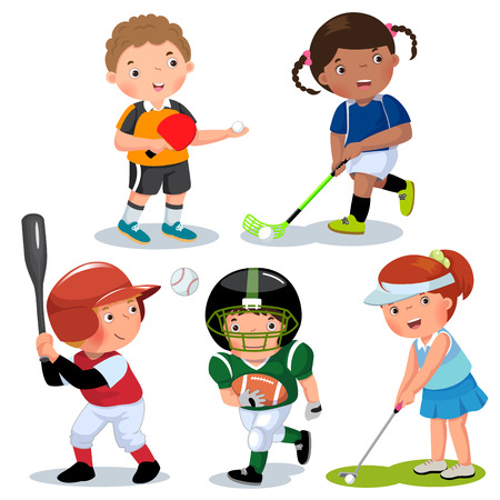 set table: Vector illustration of various sports kids on a white background