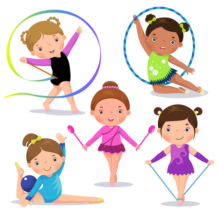 gymnastics sports: Set of rhythmic gymnastics cute girls