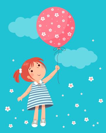 balloon girl: Vector illustration of little girl holding balloon