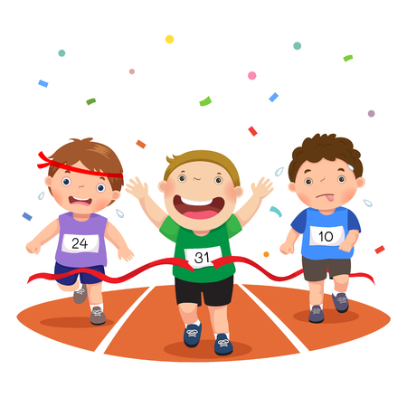 Vector illustration of boys on a race track on a white background  イラスト・ベクター素材