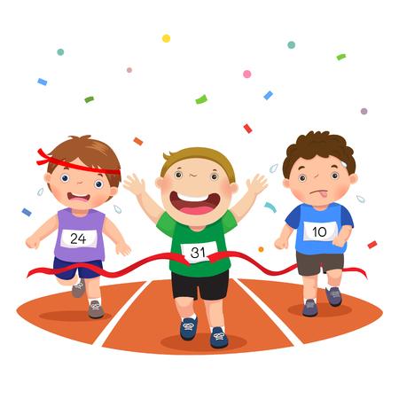 Ilustración vectorial de los niños en una pista de carreras sobre un fondo blanco