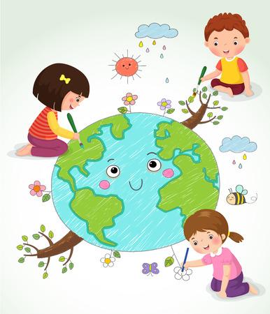 Vektor-Illustration der Kinder, welche die Erde Zeichnung Standard-Bild - 61045571