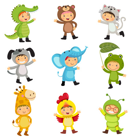 Set of cute kids wearing animal costumes. Alligator, bear, cat, dog, elephant, frog, giraffe, hen, inchworm.