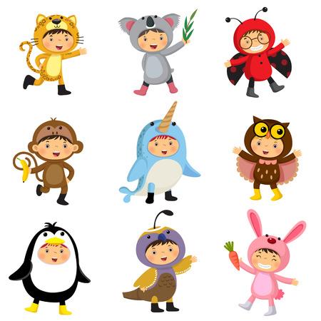 Set of cute kids wearing animal costumes. Jaguar, koala, ladybird, monkey, narwhal, owl, penguin, quail, rabbit.