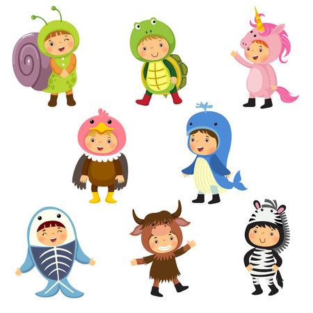 Set of cute kids wearing animal costumes. Snail, turtle, unicorn, vulture, whale, x-ray fish, yak, zebra. Illustration