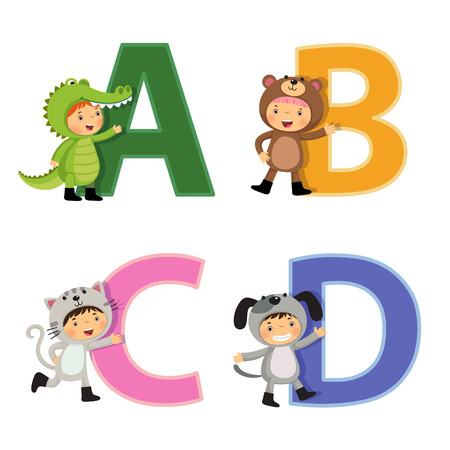 alligator isolated: English alphabet with kids in animal costume, A to D letters Illustration
