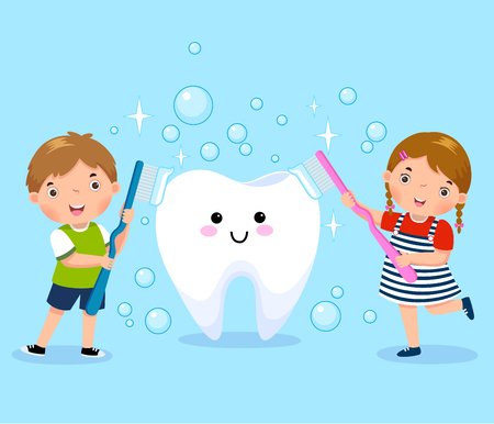brushing teeth: Vector illustration of boy and girl brushing white tooth Illustration
