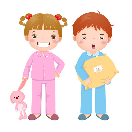 Vector illustration of children wearing pajamas and getting ready to sleep Vectores