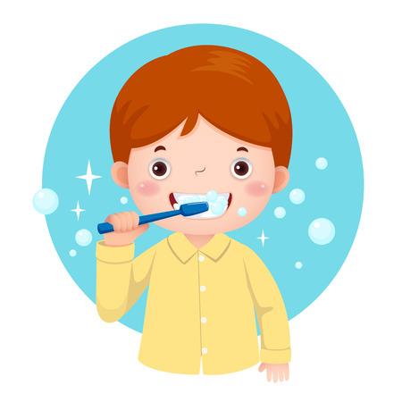 Vector illustration of cute boy brushing his teeth Stock Illustratie