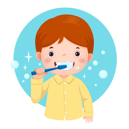 Vector illustration of cute boy brushing his teeth Иллюстрация