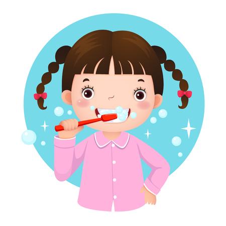 pasta de dientes: Ilustración del vector de la muchacha linda cepillándose los dientes
