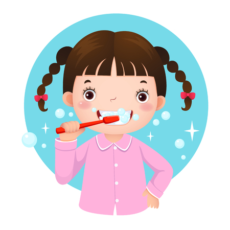 Vector illustration of cute girl brushing her teeth
