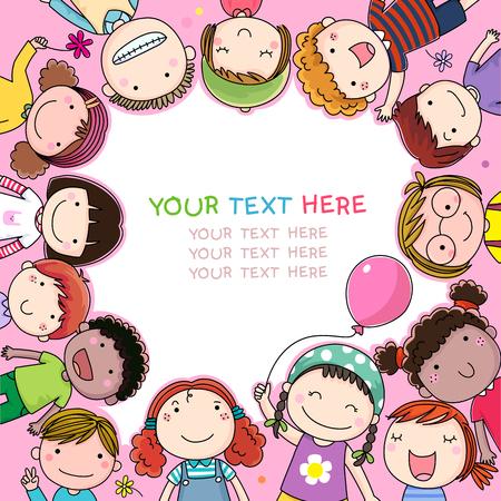 귀여운 만화 아이들과 배경