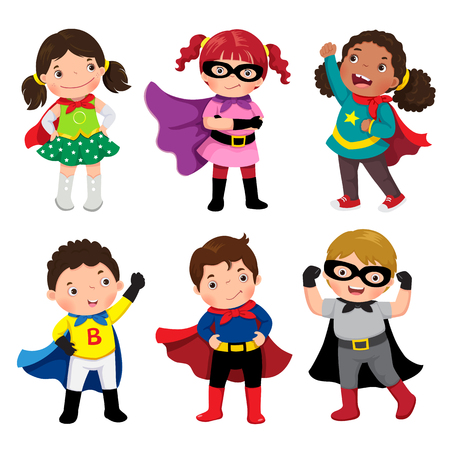 Boys and girls in superhero costumes on white background Stok Fotoğraf - 70260224